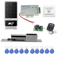 Wholesale Electronic Button Lock - Wholesale- Free shipping 125KHz touch access control system C60+electronic bolt lock +power supply+key fobs+door exit button+remote control