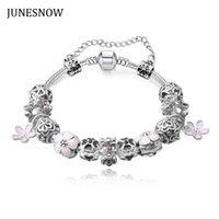 Wholesale Antique Enamel Gold Bracelet - 2016 New Heart Bracelets & Bangles Antique Silver Enamel Flower Pendant Beads Bracelets for Women Wedding Jewery