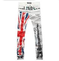 Wholesale Eiffel Pencil - Wholesale-2016 men's fashion print jeans English flag Eiffel tower colored drawing straight rock jeans pants denim overalls for men LP46