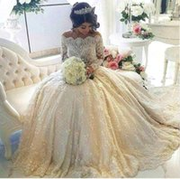 online shopping Ball Gowns - 2018 Luxury Vintage Full Lace Wedding Dresses Off Shoulder Bateau Long Sleeves Ball Gown Bridal Gowns With Beaded Pearls Court Train BA3212