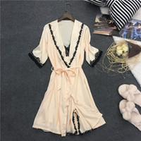 Wholesale Home Sexy Woman Robe - Sexy women robe sets 2017 new arrival luxury lace silk home suits silk nightgown + robe set two piece