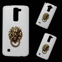 Wholesale g finger rings - 3D Fashion Bronze Lion Head Finger Ring Holder Stand Back Hard Case Cover for LG G2 G4 G5 G6 V10 V20 V30 K7 K10 G Stylo G4 Stylus