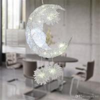 Wholesale Moon Light Chandelier - Bedroom Moon Stars Pendant Lamps Modern Pendant Ceiling Light Lighting Lamp Chandelier Ceiling Light with G4 Bulb Lights Warm White Bulb