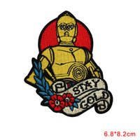 Wholesale Star Wars Droid - Star Wars Droid Character Fan Stay Gold Patch DIY Applique Iron On CLOTHING