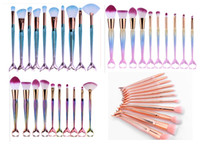 Wholesale Facial Bb Cream - 2017 Newest Colors 10pcs Mermaid Makeup Brush Tools Makeup Brushes Fashional Professional Cosmetic Brush set Facial BB Cream Foundation DHL
