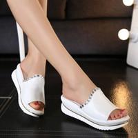 Wholesale Korea Women Wedges - Wholesale-Summer 2016 new leather sandals and slippers women platform sandals shoes wedges platform shoes with comfort in Korea