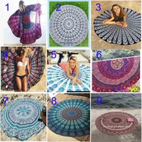 Wholesale Bohemian Cotton Scarf - 37 patterns Europe style Round Mandala Beach Towel Covers up Towels Printed Tapestry Hippy Boho Tablecloth Bohemian scarf Shawl Pashmina