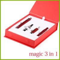 wachs elektronischen zigaretten-kit großhandel-Magic 3 in 1 elektronische Zigarette mit Wachsverdampfer Vor g5 MT3 Glass Globle EVOD trockener Kräuterverdampfer-Stift und Zigarettenstarter-Kit