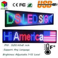 Wholesale outdoor full color led screen - P10 SMD Outdoor Full Color LED sign 40X8 inch USB Programmable Rolling Information 1000x200MM LED Display Screen
