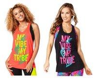 Wholesale Loose Yoga Tops - woman dance tops yoga vest My Vibe My Tribe Loose Tank racerback black orange