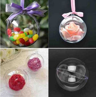 Wholesale Clear Plastic Ornaments For Crafts - Wholesale-10pcs Transparent Hanging Ball New 2016 For Xmas Tree Bauble Clear Plastic Home Party Christmas Decorations Gift Craft