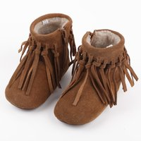 Wholesale Camel Boot Genuine Leather - New Winter Baby Girls Boots Tassel Leather Shoes Camel Childern Shoe Casual Thicken Warm Girl's Shoes Snow Boot Christmas Gifts Shoe A7485