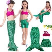 Wholesale Kids Piece Character Costumes - Baby Kids Clothing Swim Two-Pieces Swimsuit Bikini Girls mermaid costume with tail mermaid swimwear 3 pieces Mermaid designs swimming suit