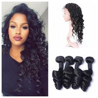 Wholesale Malaysian Loose Wave 4pcs - 360 Full Lace Frontal Closure With 4pcs Human Hair Weave Bundles Malaysian Loose Wave Virgin Hair Extensions G-EASY