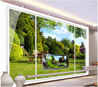 Fabric outside tv - Outside the window landscape murals mural d wallpaper d wall papers for tv backdrop