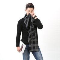 Wholesale Mens Warm Wraps - 2017 New England Mens warm scarf authentic Plaid cashmere scarf thick business