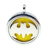 Wholesale Birthday Oils - Batman Logo Perfume Aromatherapy Oil Essential Diffuser Locket Pendant Alloy 30mm Hollow Locket Free Felt Pads Silver Fashion Birthday Gift