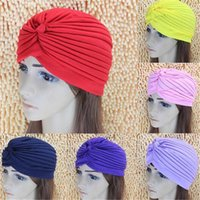 Wholesale Head Cap For Winter - Women Lady Stretchy Polyester Turban Head Wrap Hat Band Bandana Hijab Pleated Indian Styles Caps Fashion Gift for Women DHL Free