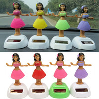 Wholesale Solar Power Gifts Dancing - Wholesale-4pcs set Solar Powered Dancing Hula Girl Swinging Bobble Toy Gift For Car Decoration Novelty Happy Dancing Solar Girls Toys