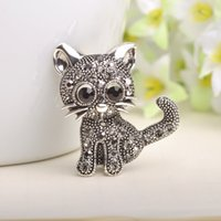 Wholesale Sweater Brooches Korean - Wholesale- Cute Cat With Crystal Brooch Sweater Cardigan Scarf Clips Anti Silver Animal Broche Korean Style Bag Pendant Hat Pins Bijoux