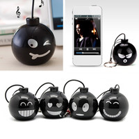 Wholesale Speaker Bombs - Wholesale- Fashion Audio Dock 3.5mm Jack Portable Stereo Mini Speaker Bomb with Various expressions for iPhone Xiaomi Mobile Phone MP3 MP4