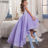 Wholesale lilac pageant little girl dresses - High Low Lilac Flower Girl Dresses for Wedding Party 2017 Sheer Lace Short Front Long Back Pageant Dress Little Girls Birthday Prom Gowns