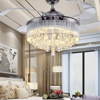 Wholesale E27 36 - 36 Inch 42 Inch Led Ceiling Fans Light 110-240V Invisible Blades Ceiling Fans Modern Fan Lamp Living Room European Chandelier Ceiling Light