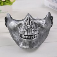 Wholesale Field Protective Mask - Halloween mask field mask skulls Half a face protective mask of terror outdoor products Horror party supplies DH12
