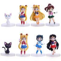 Wholesale Finish Cat - 8pcs set Sailor moon Tsukino Usagi Venus Jupiter Artemis Cat PVC Figure Toy With Gift Box Free Shipping