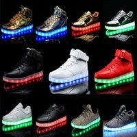 Wholesale Black Leather Tape - LED Light Up Shoes Kids Boy Girl's Shoes Comfort Flats Athletic Casual Magic Tape High Tops USB Charge Black   Red   White