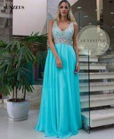 Wholesale Tank Straps Rhinestones - Sparkle Rhinestones Beaded Prom Dresses 2017 A-line V-neck Tank Blue Chiffon Long Party Gowns Low Back