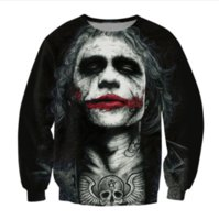 Wholesale Top Women Sleeve Tattoos - Inked Joker Sweatshirt Badass Tattooed Joker Dark Knight 3d Sweats Women Men Batman DC Comics Superhero Jumper Outfits Tops