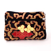 Wholesale chinese coin money - Chinese knot Layered Double Zipper Gift Bag Travel Jewelry Storage Pouch Silk Brocade Money Pocket Coin Purse Card Holder