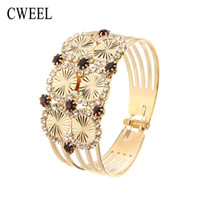 Wholesale Vintage Crystal Jewellery Sets - Wholesale- CWEEL Bridal Vintage Accessories Imitated Crystal Jewelry Bangle Women Gold Plated Bracelet African Party Gift Jewellery Holiday