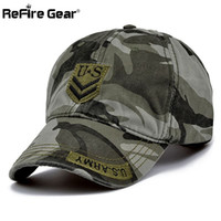 ReFire Gear Fashion Militar Style Herren Camouflage Baseball Cap US Army Tactical Snapback Hut Frauen Casual Sommer Baumwolle Camo Caps q170662