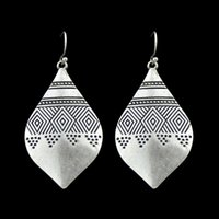 Wholesale Ethnic Fashion Jewelry China - New Fashion Indian Jewelry Ethnic Style Antique Silver Color Stripe Water Drop Shape Drop Earrings for Women