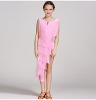 Wholesale Salsa Dresses For Kids - 5 colors pink modern dance dress for girls dance competition latin salsa dress latin dance dress tassel kids latin dancewear samba