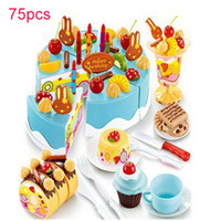 Wholesale Cake Set Toys - 75Pcs Kitchen Toys Pretend Play Cutting Birthday Cake Food Toy Tableware Cocina De Juguete Plastic Play Food Tea Set