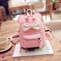 Atacado- LEFTSIDE Pink Black Cute Bow Kids Mochila PU Leather School Mochilas Teenage Girl Moda Packs Backpack Mulheres Pacote Small Bag