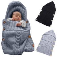 Wholesale Baby Sleeping Bags Pink Blue - Colorful Newborn Baby Wrap Swaddle Blanket Kids Toddler Wool Knit Blanket Swaddle Sleeping Bag