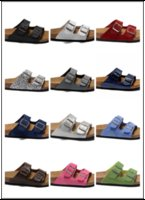 Wholesale Buckle Shoes Women Flats Blue - 22 color Arizona Hot sell summer Men Women flats sandals Cork slippers unisex casual shoes print mixed colors flip flop size 35-45