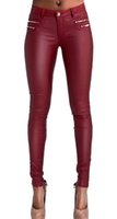 Wholesale Full Wash - Wholesale- Lowrise wine red pu skinny pencil jeans plus size full length slim leather pencil pants sculpt locomotive jeans double zippers