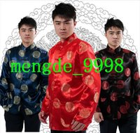 Wholesale Traditional Chinese Wedding Clothes - Traditional Chinese Clothing Men Tang Suit Chinese Festive Wedding Shirt Costumes Jackets Men's Brocade Suit Outerwear Men Kungfu Shirt T410