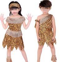 trajes originais do carnaval venda por atacado-2017 Novos Meninos Meninas Africano Original Indiano Savage Costume Adultos Crianças Selvagem Trajes Cosplay Halloween Carnaval Fancy Dress Suprimentos