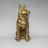 скульптуры из латуни животных оптовых-Китай Фэншуй Латунь Зодиак Год Собака Верный Страж Животных Статуя скульптура