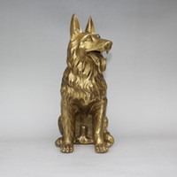 Cina FengShui Ottone Zodiaco Anno Cane Faithful Guard Statua animale scultura