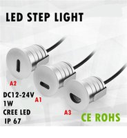 Wholesale Led Lamp Kit 12v - 8pcs LED Stair Light Recessed Wall Light Sconce Lamp 1W CREE 12V IP67 Waterproof Outdoor Step Deck Floor Light Staircase Lighting Kit