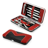 Wholesale nail clipper case - Nail Clippers 10 PCS Pedicure Per Manicure Set Nail Clippers Cleaner Cuticle Grooming Kit Case