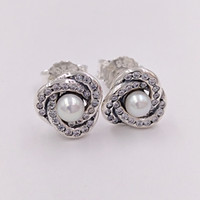 Wholesale knot studs resale online - Authentic Sterling Silver Studs Luminous Love Knots Earrings Fits European Pandora Style Studs Jewelry WCP