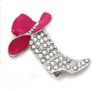 Wholesale Enamel Boot Charm - Lucky Western Cowboy Boots Brooch Pink & Brown Hat Pin Charm Enamel Jewelry